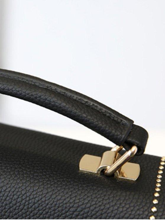 Flapped Rivet Textured Handbag - GRAY  Mobile