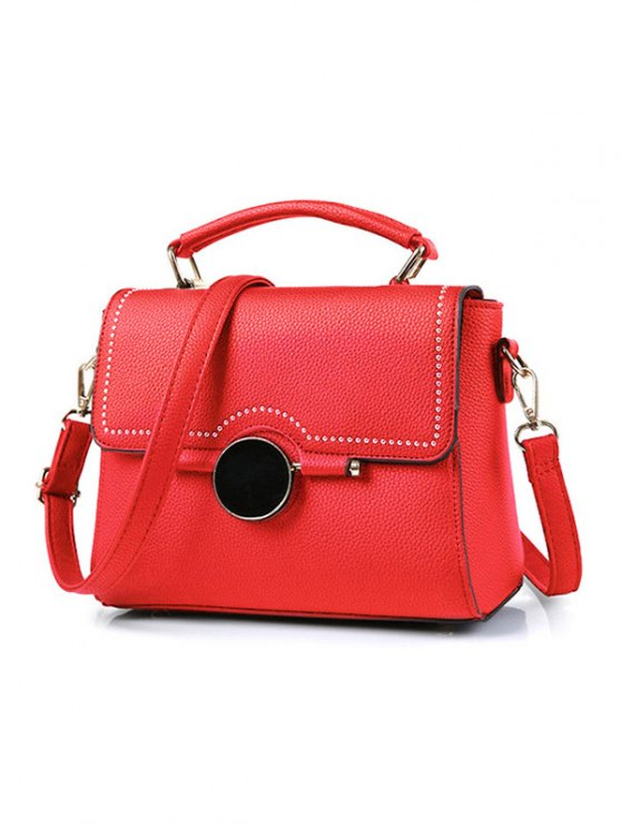 Flapped Rivet Textured Handbag - RED  Mobile