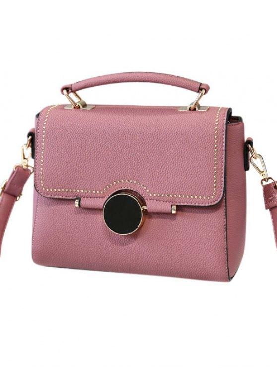 Flapped Rivet Textured Handbag - PEONY PINK  Mobile