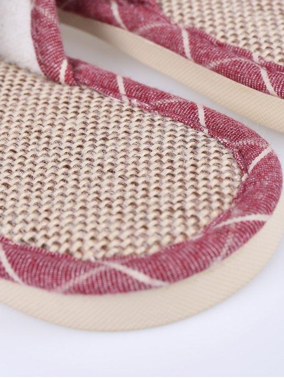 Linen Color Block Plaid House Slippers - CLARET SIZE(39-40) Mobile