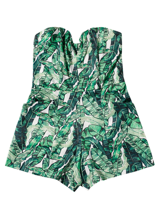 Strapless Tropical Print Romper - GREEN S Mobile