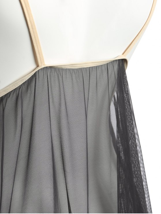 Lace Panel Layered Sheer Babydoll - GRAY ONE SIZE Mobile