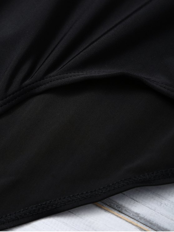 Color Block Halter Push Up Swimwear - WHITE AND BLACK M Mobile
