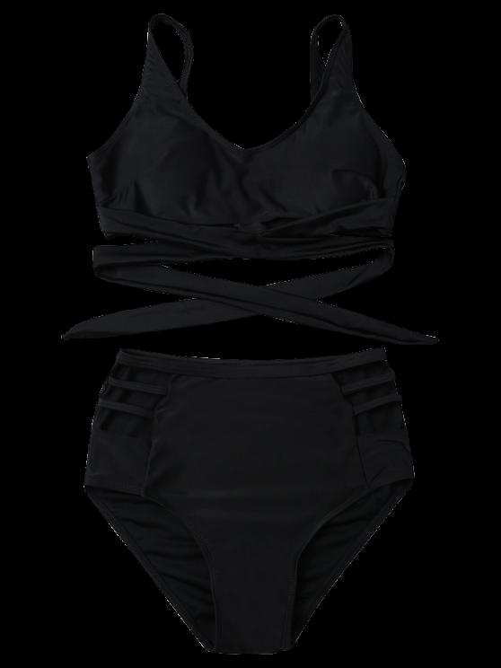 Bandage High Waist Bikini Set - BLACK L Mobile