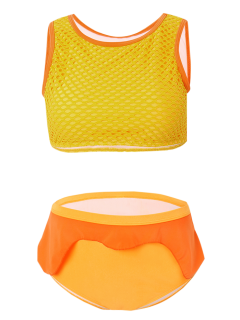 Grid High Waist Ruffle Swimwear - Orange Xl