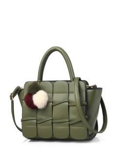 Patches Winged Pompon Detail Handbag - Green