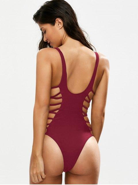 unique Crisscross Strap Cut Out Swimsuit - BURGUNDY L Mobile