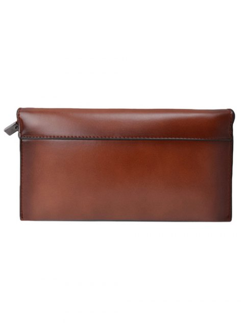 trendy Waxed Leather Flapped Clutch Bag - BROWN  Mobile