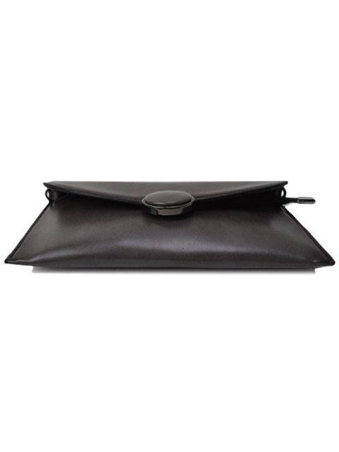 fancy Waxed Leather Flapped Clutch Bag - GRAY  Mobile