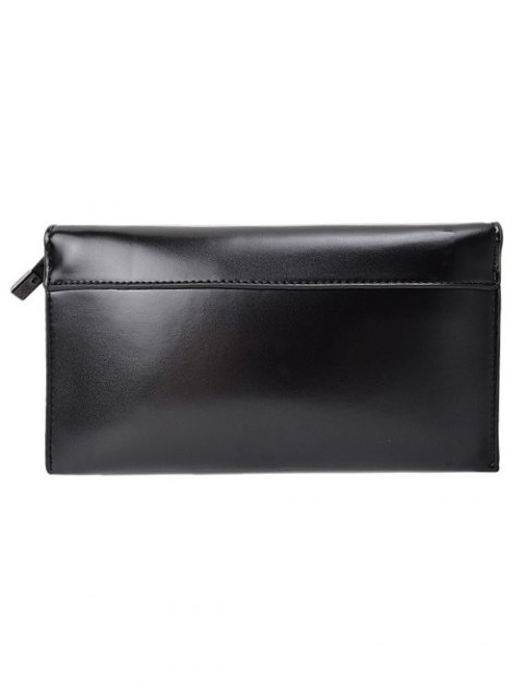 unique Waxed Leather Flapped Clutch Bag - BLACK  Mobile