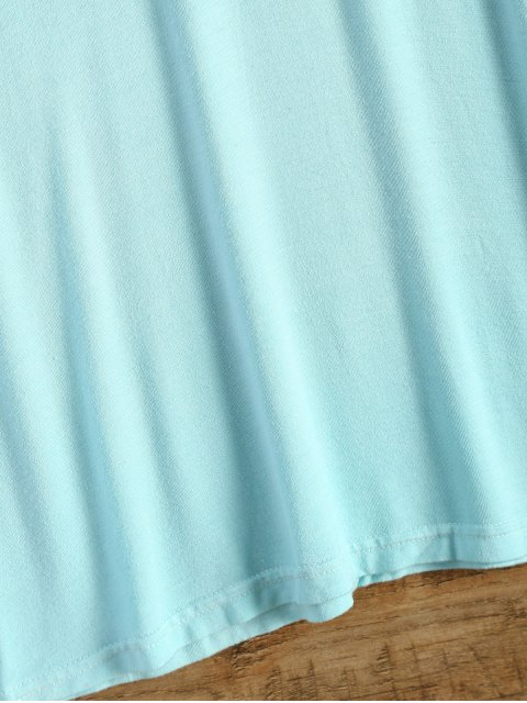fashion Long Sleeve Ombre T-Shirt Dress - TURQUOISE S Mobile