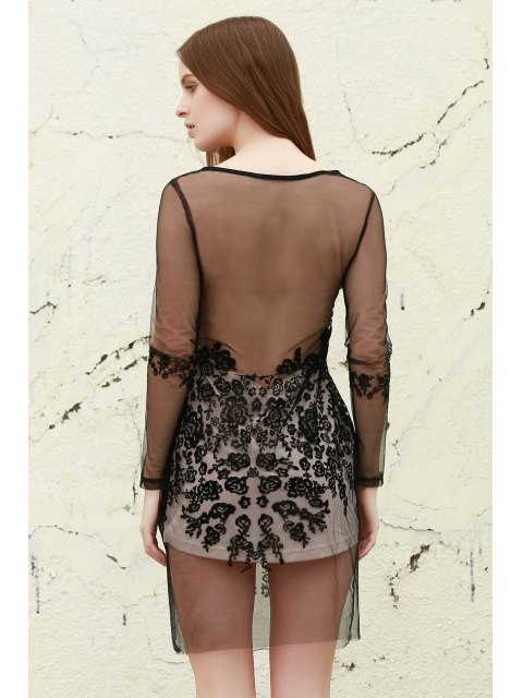 ladies Mesh See-Through Lace Dress - BLACK ONE SIZE Mobile