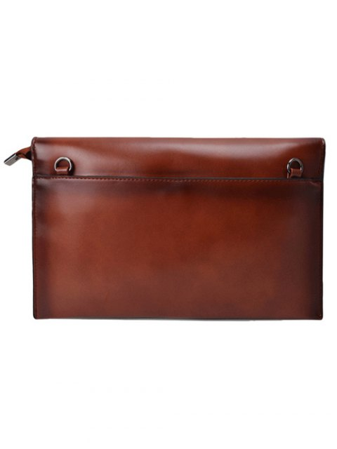 affordable Waxed Leather Envelope Clutch Bag - BROWN  Mobile
