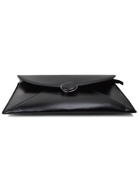 buy Waxed Leather Envelope Clutch Bag - BLACK  Mobile