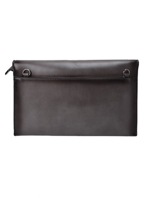womens Waxed Leather Envelope Clutch Bag - GRAY  Mobile