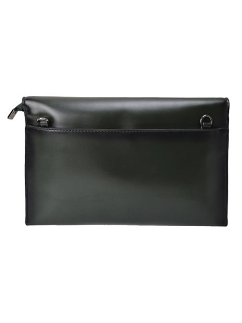 women Waxed Leather Envelope Clutch Bag - GREEN  Mobile