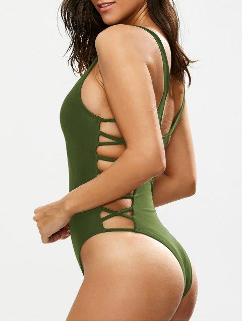 women Crisscross Strap Cut Out Swimsuit - GREEN M Mobile