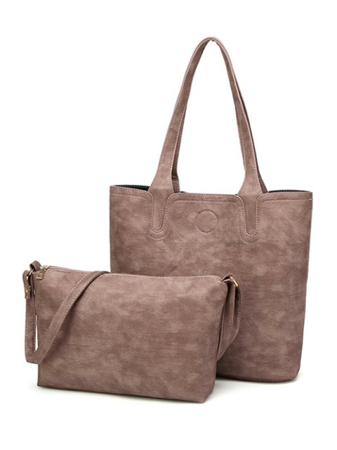 ladies Casual Tote Bag with Interior Bag - PALE PINKISH GREY  Mobile