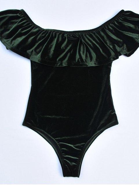 shops Off The Shoulder Flounced Velvet Swimwear - BLACKISH GREEN S Mobile