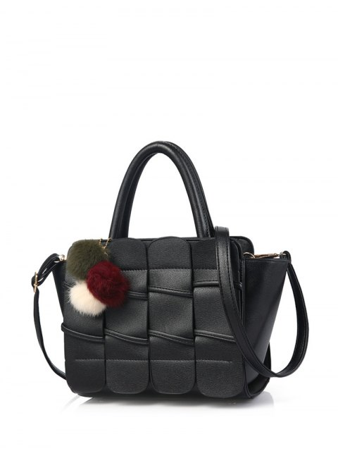 online Patches Winged Pompon Detail Handbag - BLACK  Mobile