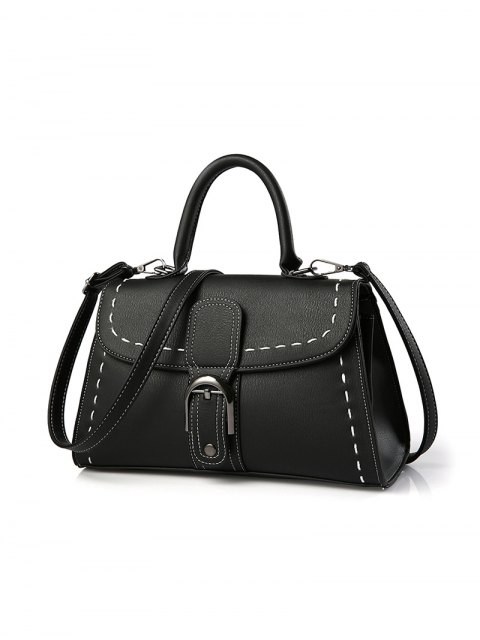 outfit Stiching Buckle Strap Handbag - BLACK  Mobile