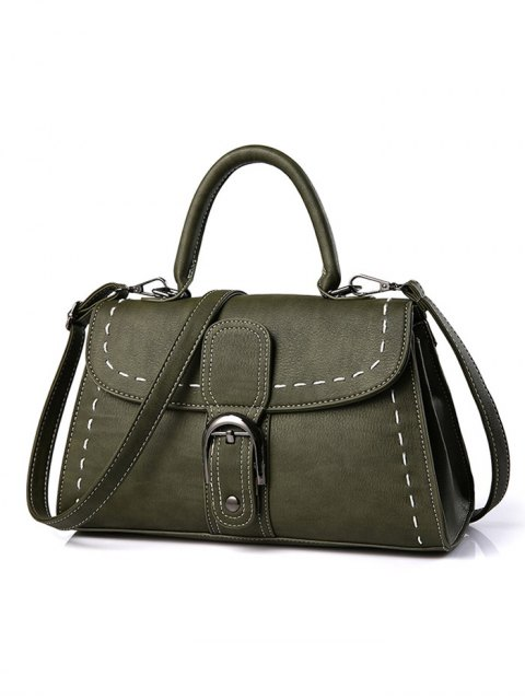 shops Stiching Buckle Strap Handbag - ARMY GREEN  Mobile