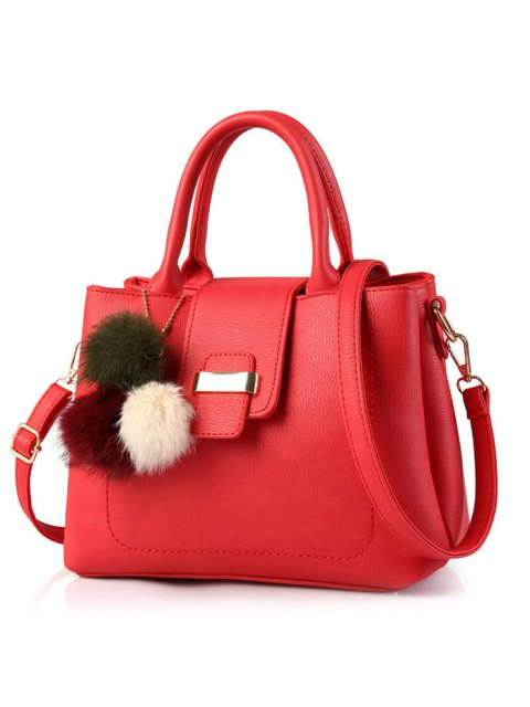 trendy Faux Leather Handbag with Pom Pom - RED  Mobile