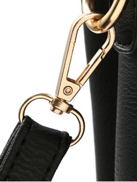 fashion Faux Leather Handbag with Pom Pom - BLACK  Mobile