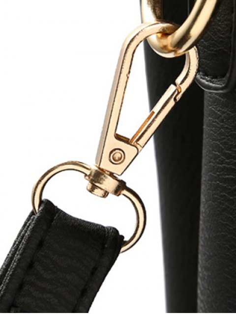 sale Faux Leather Handbag with Pom Pom - PURPLISH RED  Mobile