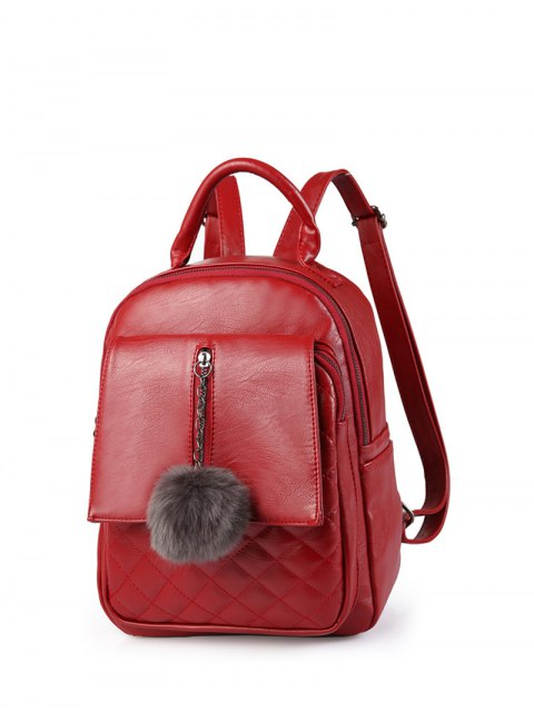 new Quilted Panel Backpack with Pom Pom - RED  Mobile