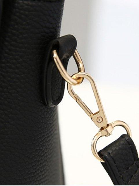 best Flapped Rivet Textured Handbag - BLACK  Mobile