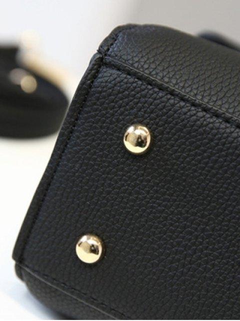 hot Flapped Rivet Textured Handbag - RED  Mobile