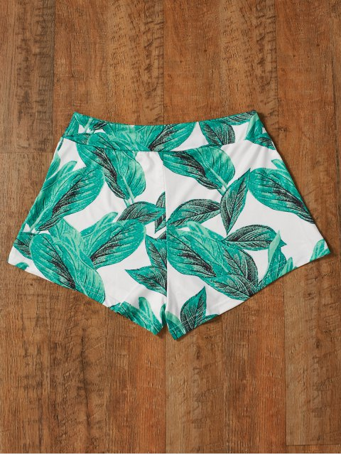 trendy High Waisted Tropical Print Shorts - GREEN 2XL Mobile