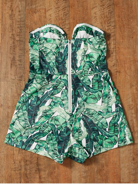 lady Strapless Tropical Print Romper - GREEN S Mobile