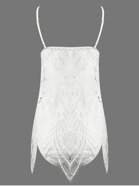 best Lace Slip Asymmetric Babydoll and Briefs - WHITE ONE SIZE Mobile
