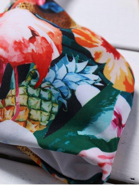 women's Cutout Lace-Up Floral Bikini Set - GREEN S Mobile
