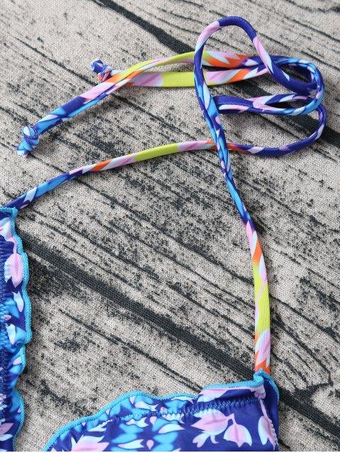 shops Side Tie Halter Tassel Printed Bikini Set - BLUE M Mobile
