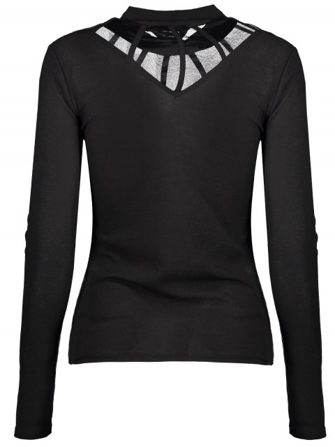 new Mesh Panel Fitted Choker T-Shirt - BLACK XL Mobile