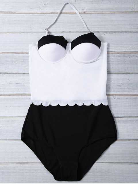 unique Color Block Halter Push Up Swimwear - WHITE AND BLACK L Mobile