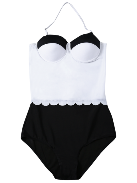 trendy Color Block Halter Push Up Swimwear - WHITE AND BLACK S Mobile