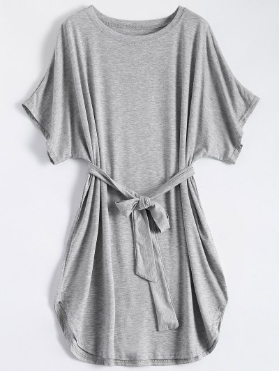 Belted Casual Mini Dress - Gray M