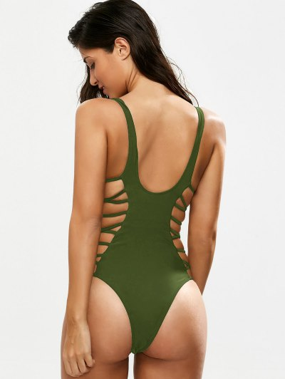 Crisscross Strap Cut Out Swimsuit - GREEN L Mobile
