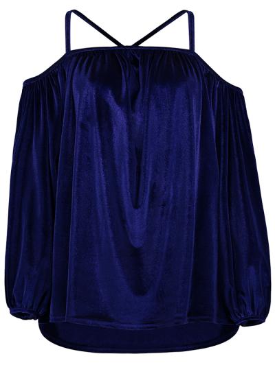 Spaghetti Straps Cold Shoulder Velvet Top - ROYAL S Mobile