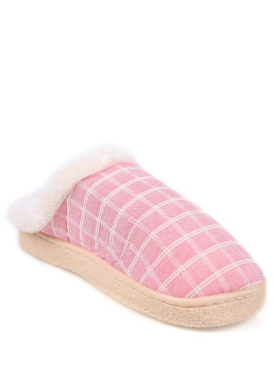 Checked Falt Heel Faux Fur House Slippers - PINK SIZE(38-39) Mobile
