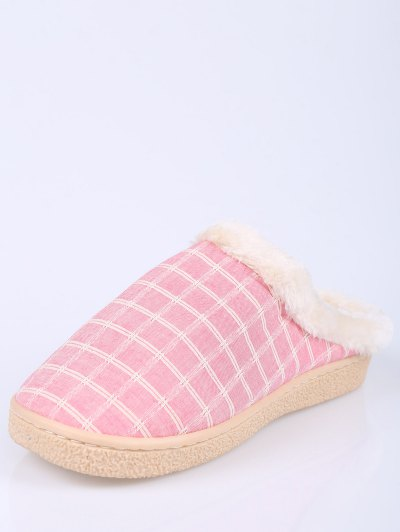 Checked Falt Heel Faux Fur House Slippers - PINK SIZE(40-41) Mobile