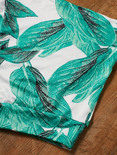 High Waisted Tropical Print Shorts - GREEN L Mobile
