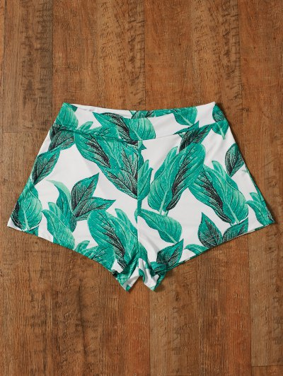 High Waisted Tropical Print Shorts - GREEN M Mobile
