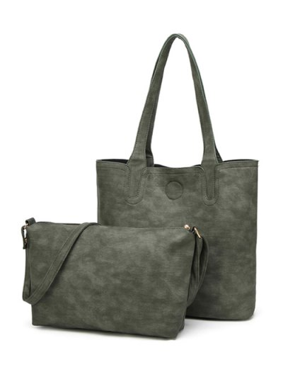 Casual Tote Bag with Interior Bag - GREEN  Mobile