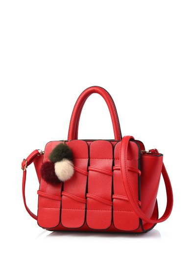 Patches Winged Pompon Detail Handbag - RED  Mobile