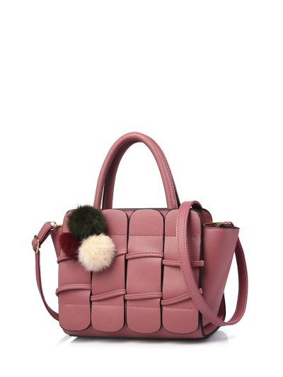 Patches Winged Pompon Detail Handbag - PEONY PINK  Mobile